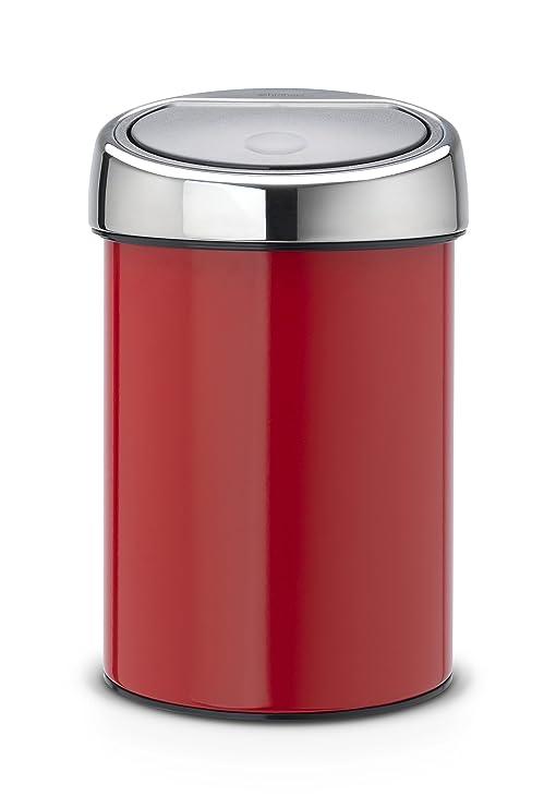Brabantia Touch Bin 364426 - Cubo de Basura, 3 l, Cubo Interior de plástico extraíble, Tapa Acero Brillante, Rojo pasión