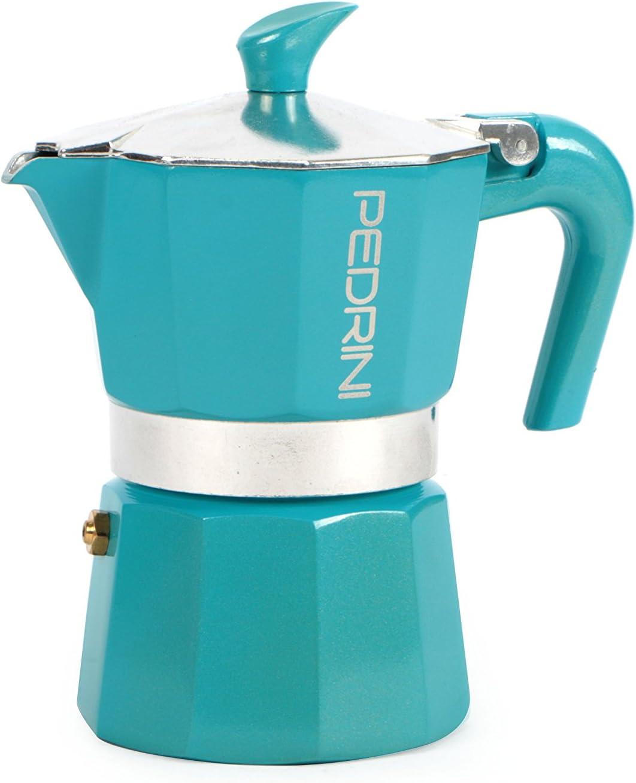 PEDRINI Glitter Cafetera, Aluminio Lacado, Azul, 3 Tazas: Amazon.es: Hogar