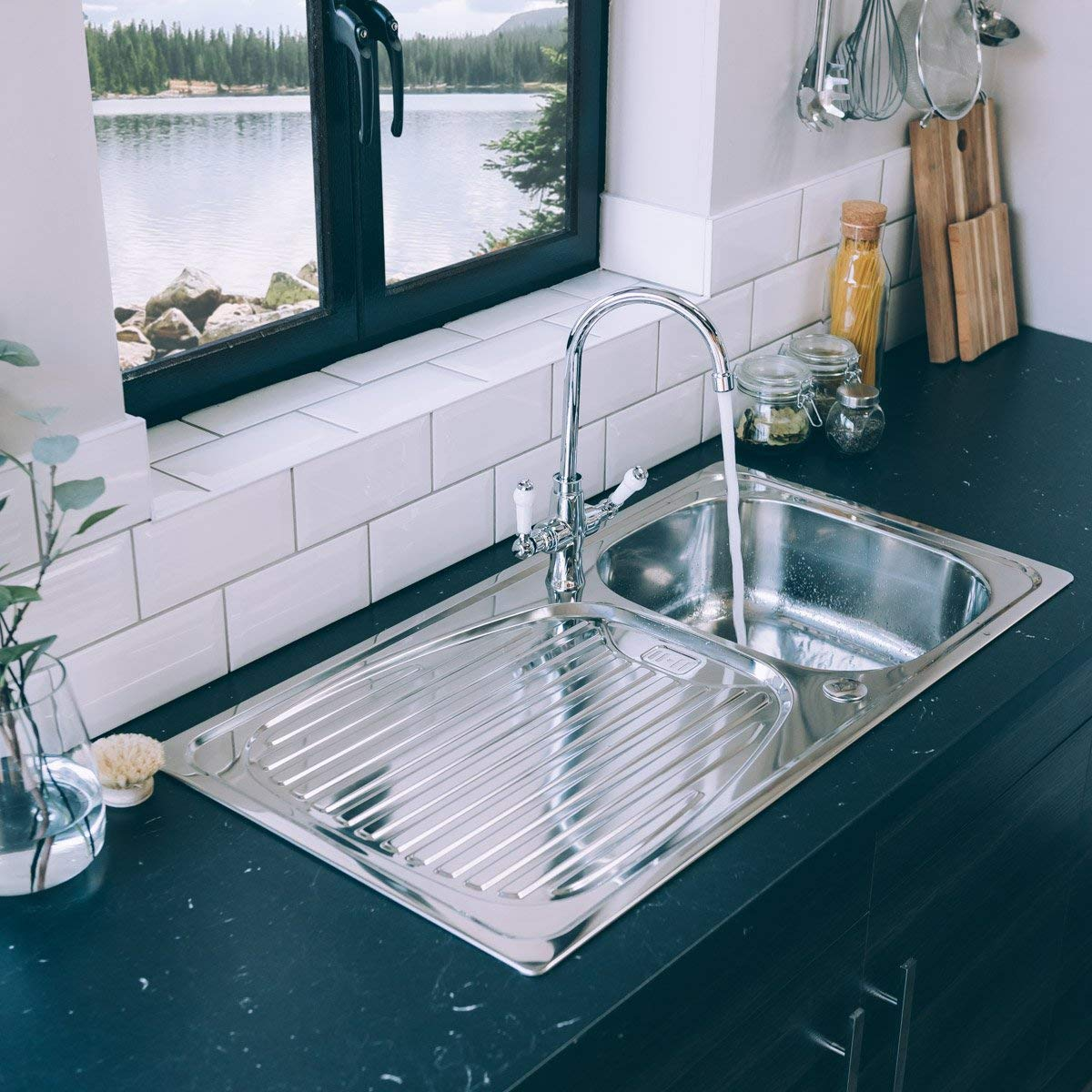 Valle Taber Reversible Inset Stainless Steel Kitchen Sink 950x500mm ...