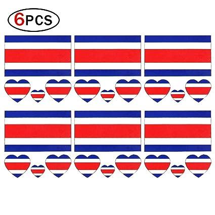 Hemore Pegatinas Tatuajes Tattoos Nacional de Costa Rica,Pegatina Temporal Bandera National para Cara con