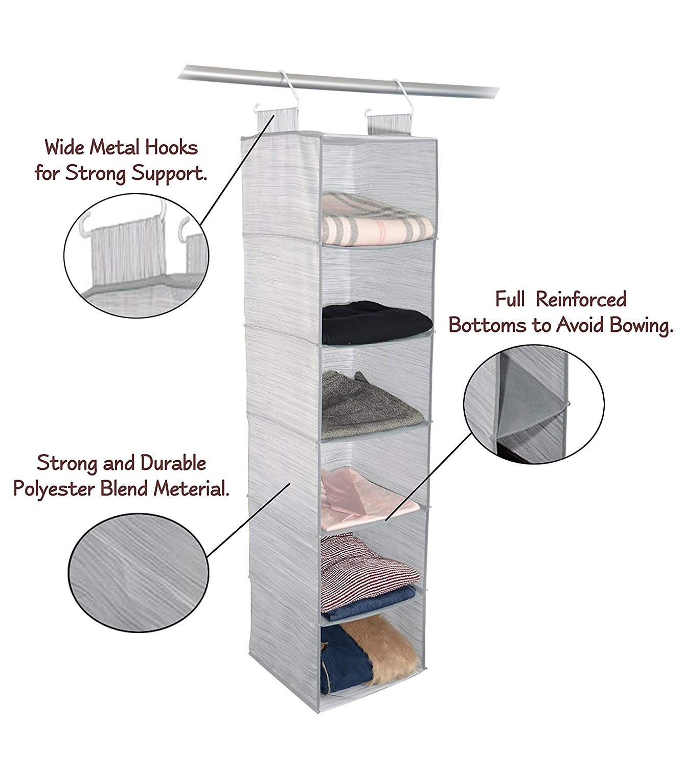 Adorn Insta-Shelf 6 Tier Closet Organizer Adorn Home Essentials AD-1028