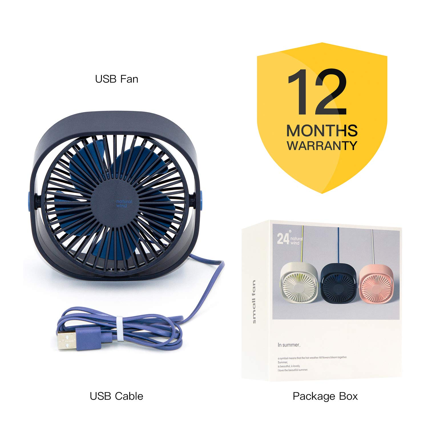 Home Hertekdo USB Desk Fan Natural White Personal Cooling Portable Mini Electric Fan with 3 Speed Setting Powerful Silent Fan Great for Office