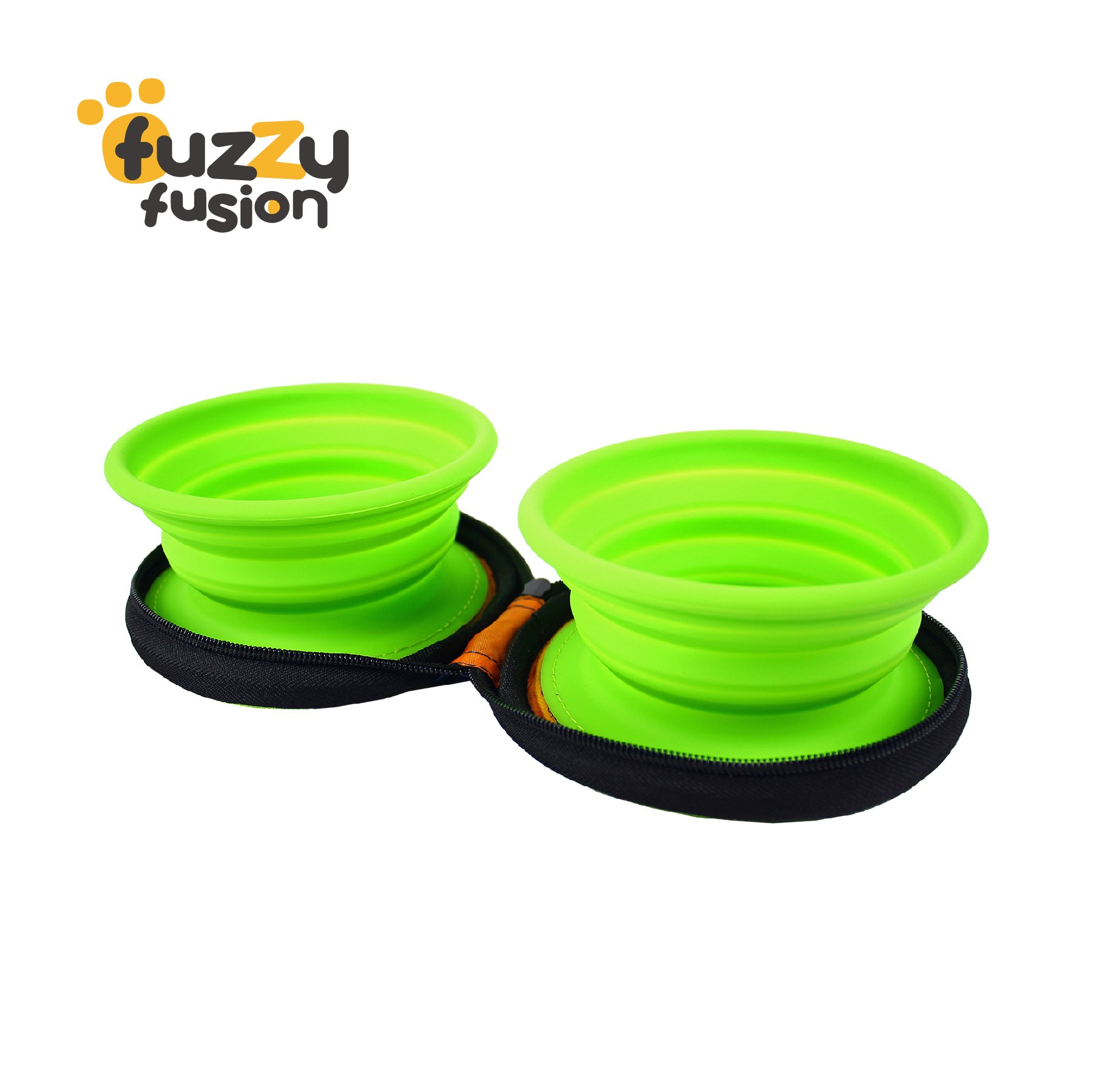 Grand Fusion Housewares Double Silicone Pet Bowl Set with Carry Case - Ideal for travel, hikes, and walks