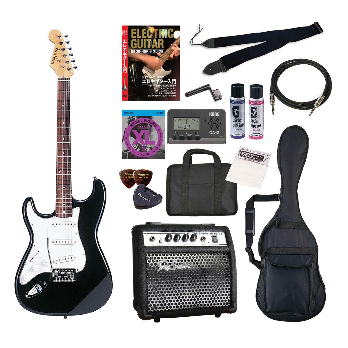 PhotoGenic エレキギター 初心者入門年始セット ストラトキャスタータイプ ST-250LH/BK ブラック 左利きモデル B009HOKXTI ブラック