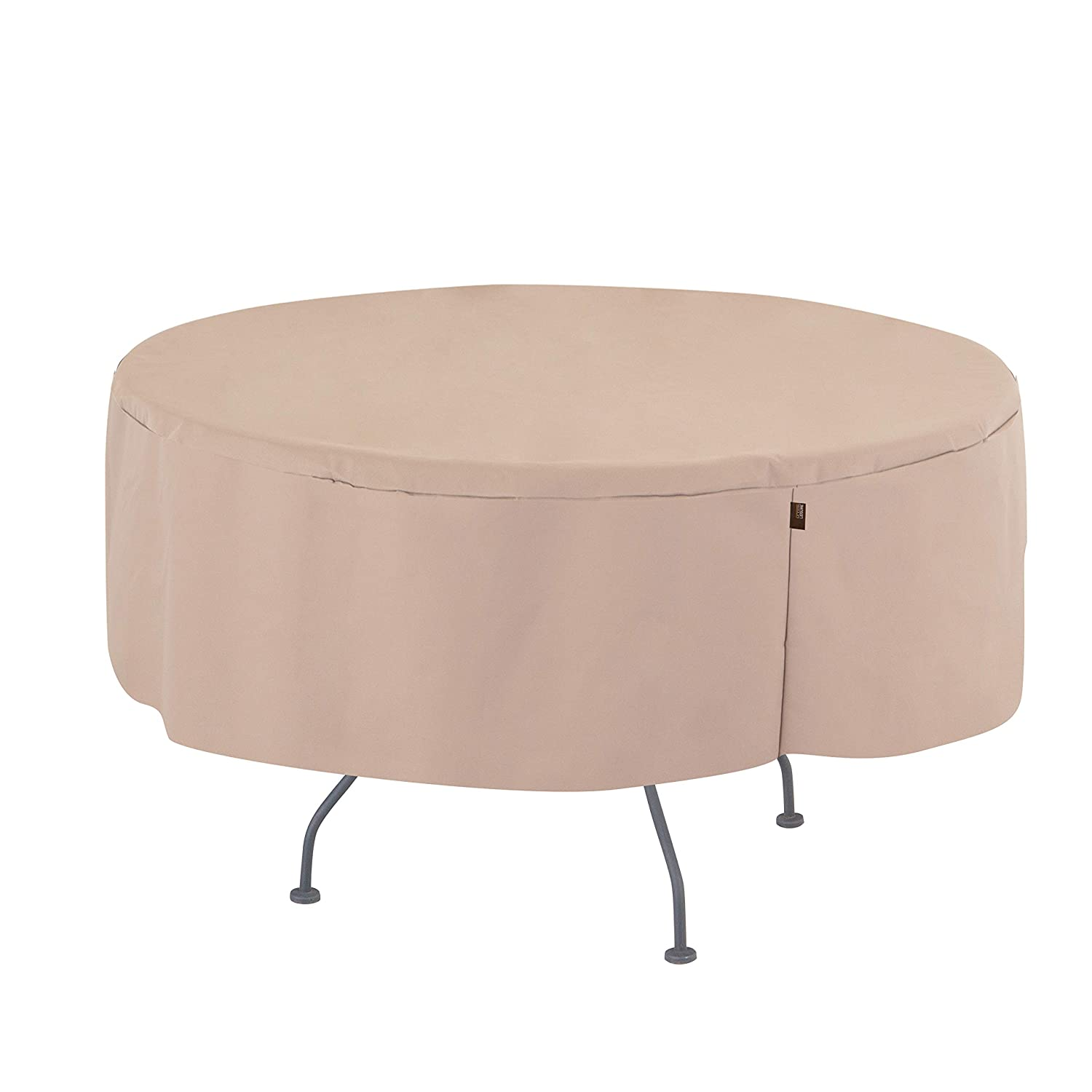 Modern Leisure 2963 Chalet Round Patio Table, Furniture, Outdoor Cover (50 D x 25 H inches) Water-Resistant, Khaki/Fossil