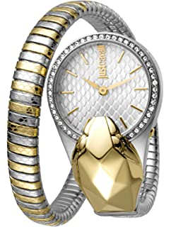 Just Cavalli Glam Chic Womens Quartz Double Wrap Gold Two Tone Stainless Steel Bangle Watch