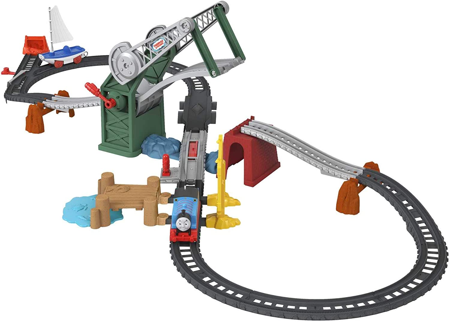 Thomas & Friends Trackmaster, Bridge Lift Thomas & Skiff Train Set with Motorized Engine and Toy Boat for Preschool Kids Ages 3 Years and up
