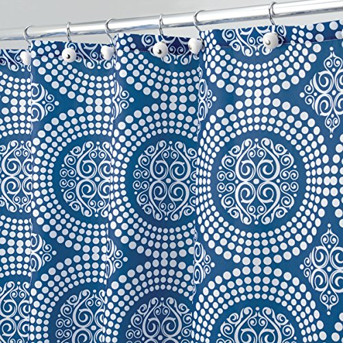 mDesign Medallion Fabric Shower Curtain - Long, 72