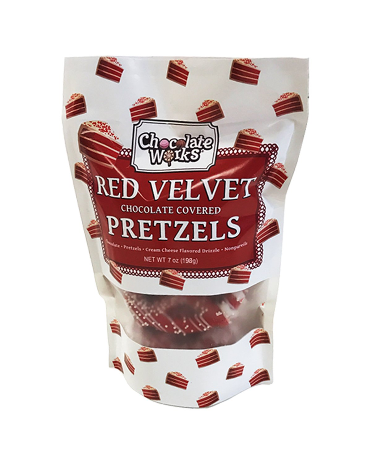 Red Velvet Chocolate Covered Pretzels Pouches, 12 Pack by Chocolate Works