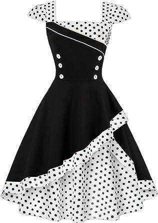Babyonlinedress Vestido Blanco de Lunares Vintage y Casual Cuello ...