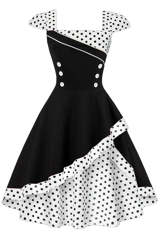 c09f67bffbc Babyonlinedress Babyonline Women's Vintage Polka Dots Cap Sleeve Cocktail  Formal Swing Dress