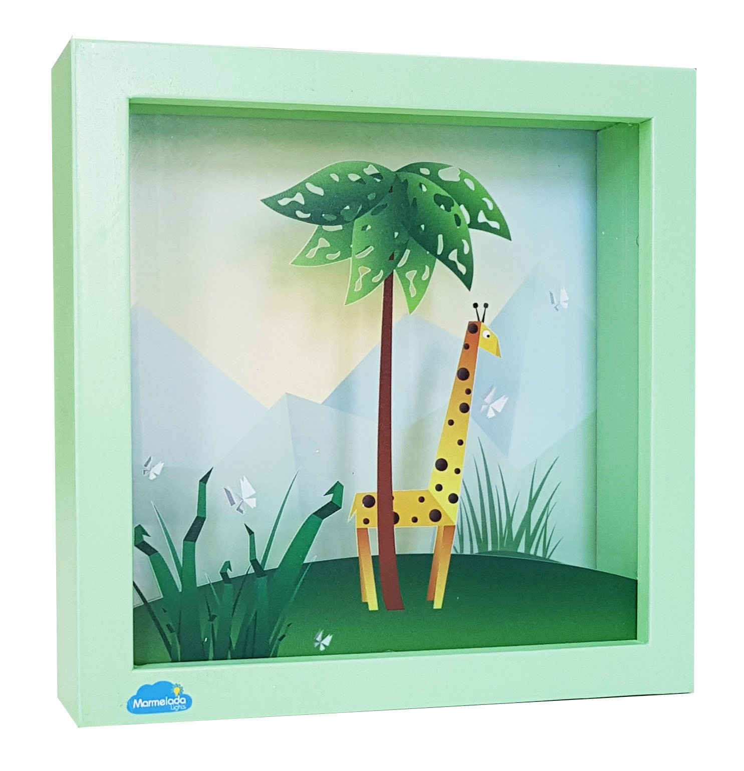 Night Light for Kids, Marmelada Lights, 3D Story in a Frame Series African Giraffe, LED Bedside Kids, Baby, Children Night Lamp Bookshelf, Tabletop, or Wall Hanging, Battery operated 2 months runtime.