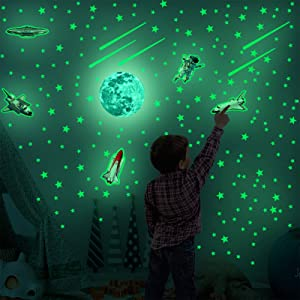212Pcs Glow in The Dark Stars Glowing Planets Rocket Spaceman Wall Sticker, LASZOLA Astronaut Spaceship Galaxy Wall Decals for Kids Solar System Decoration Stickers for Boys Girls Bedroom Ceiling