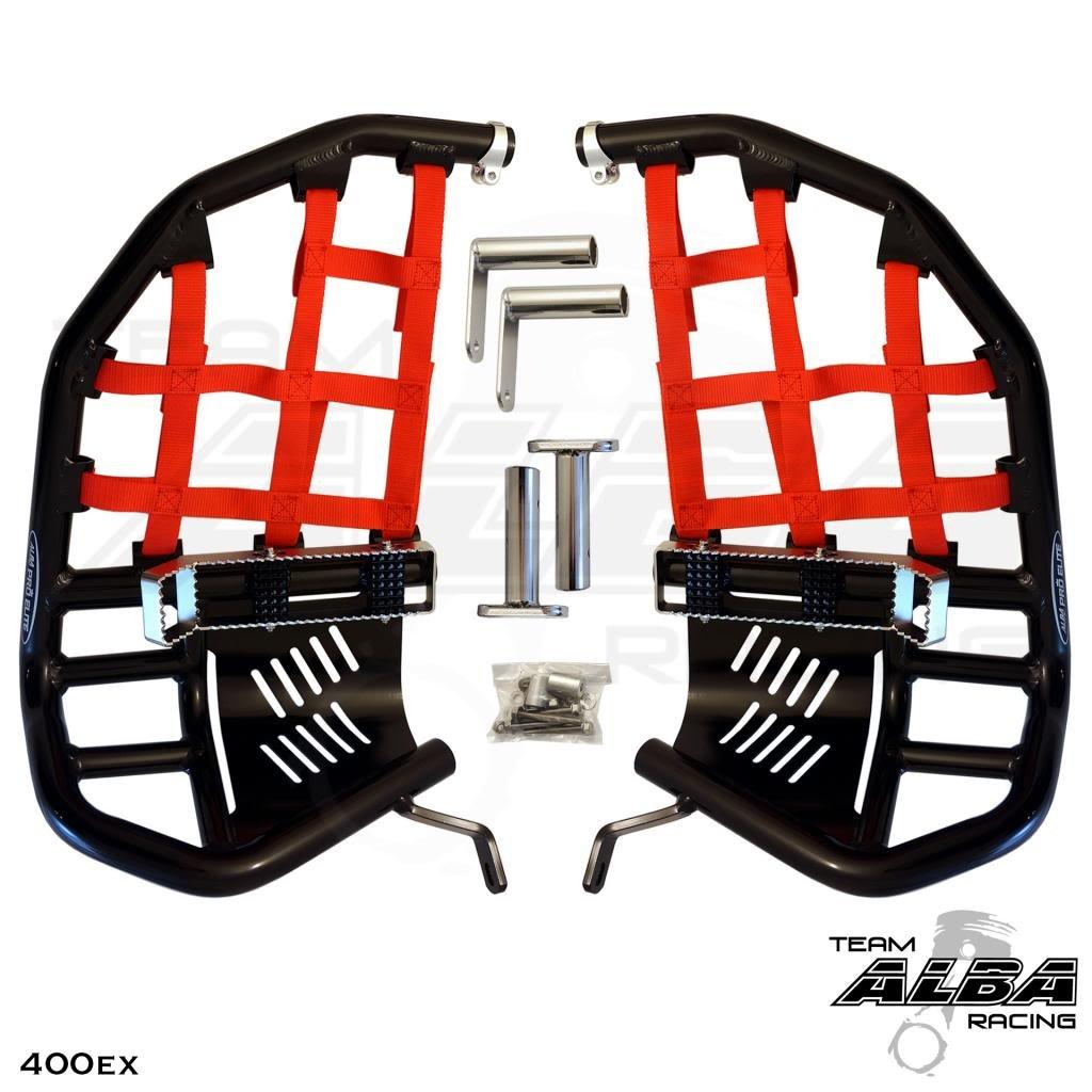 Honda TRX 400EX SPORTRAX (1999-2014) Propeg Nerf Bars Black Bars w/Red Net Alba Racing