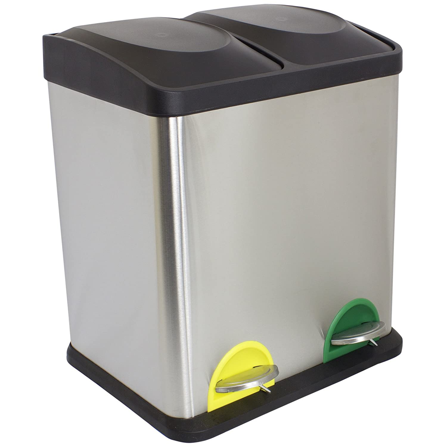Hartleys 30 Litre Stainless Steel Double Recycling Pedal Bin