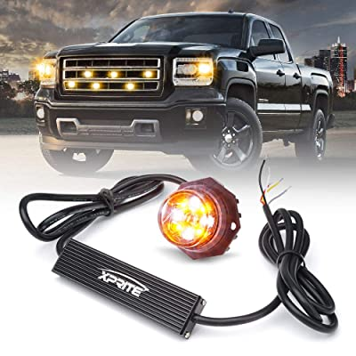 Xprite LED Hideaway Strobe Lights Emergency Hazard Warning Light Bulb Kit for Police Vehicles Trucks Cars White & Amber/Yellow - 1PC: Automotive