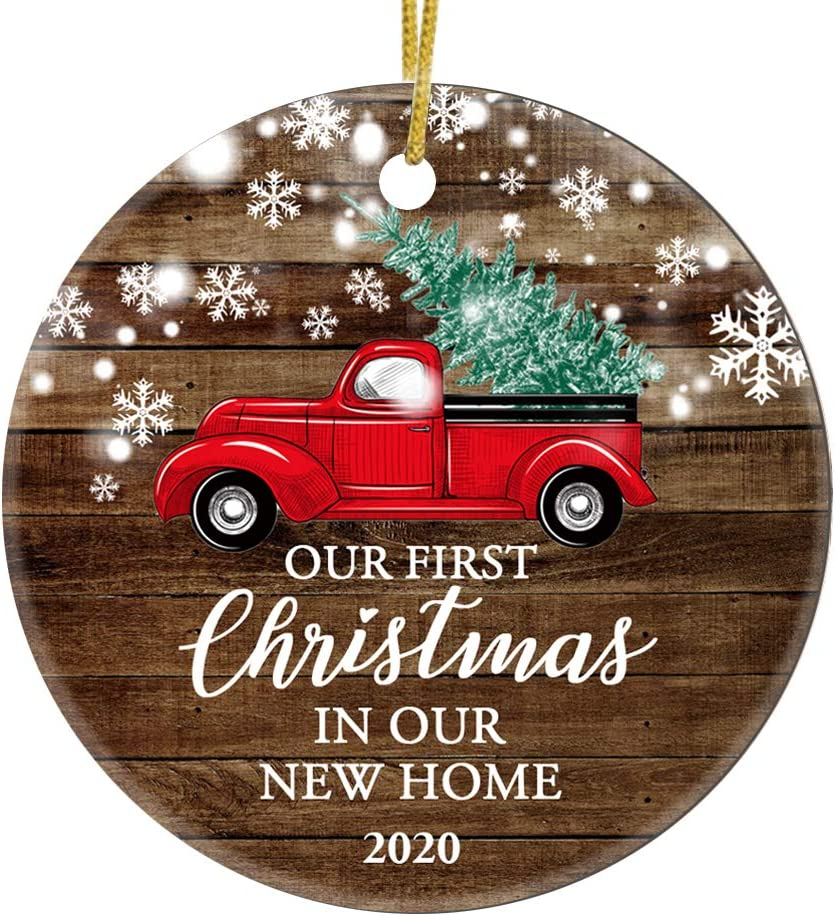 JUPPE Our First Christmas in Our New Home 2020 Decoration Mr & Mrs Newlywed Ornament Romantic Couples Gift (Red Car-1)