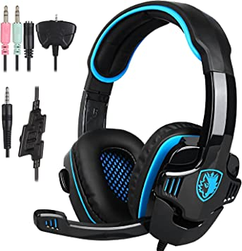 SimLife SADES 708 GT Gamer Auriculares estéreo con micrófono Soporte PS4 Xbox 360 PC Mac iPhone Smartphone: Amazon.es: Electrónica