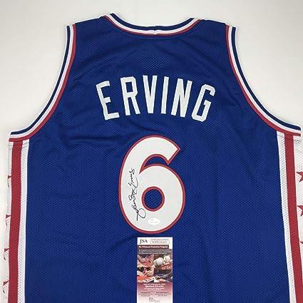 c354b3a98230 Autographed Signed Julius Erving Dr. J Philadelphia Blue Blank Basketball  Jersey JSA COA