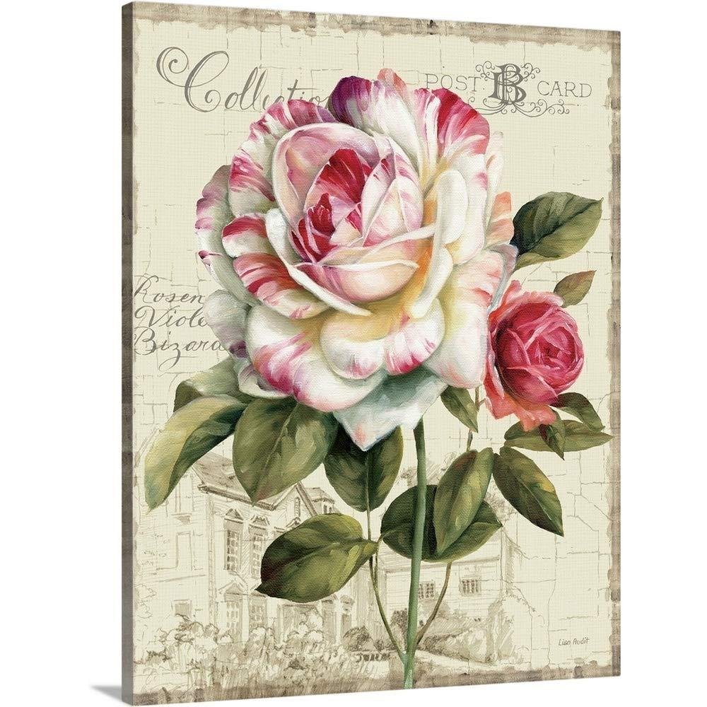 リサ監査プレミアムシックラップキャンバス壁アート印刷題名Garden View III – ローズ 24