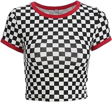 Camiseta a Cuadros Blanca y Negra de Vogue con Cuello en O de Streetwear Camiseta Femenina: Amazon.es: Ropa y accesorios