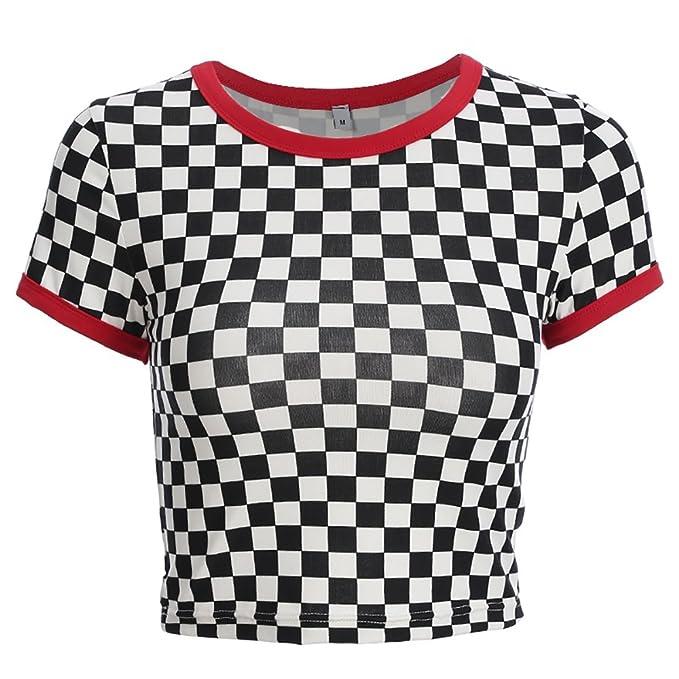 8c013ab3256b4 Camiseta a Cuadros Blanca y Negra de Vogue con Cuello en O de Streetwear  Camiseta Femenina
