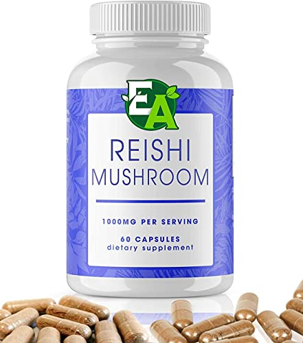 Reishi Mushroom Capsules – Powder Dietary Supplements That Support a Healthy Heart, Energy and Stress Response – 1000mg 60 Capsules