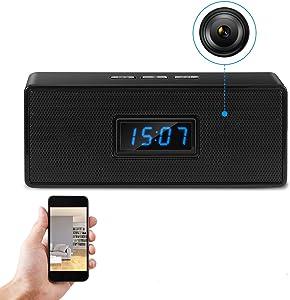 Hidden Camera Clock Spy Camera Bluetooth Speaker WiFi Security Cam Wireless Nanny Camera HD 1080P - Night Vision - Motion Detection Alarm & Record