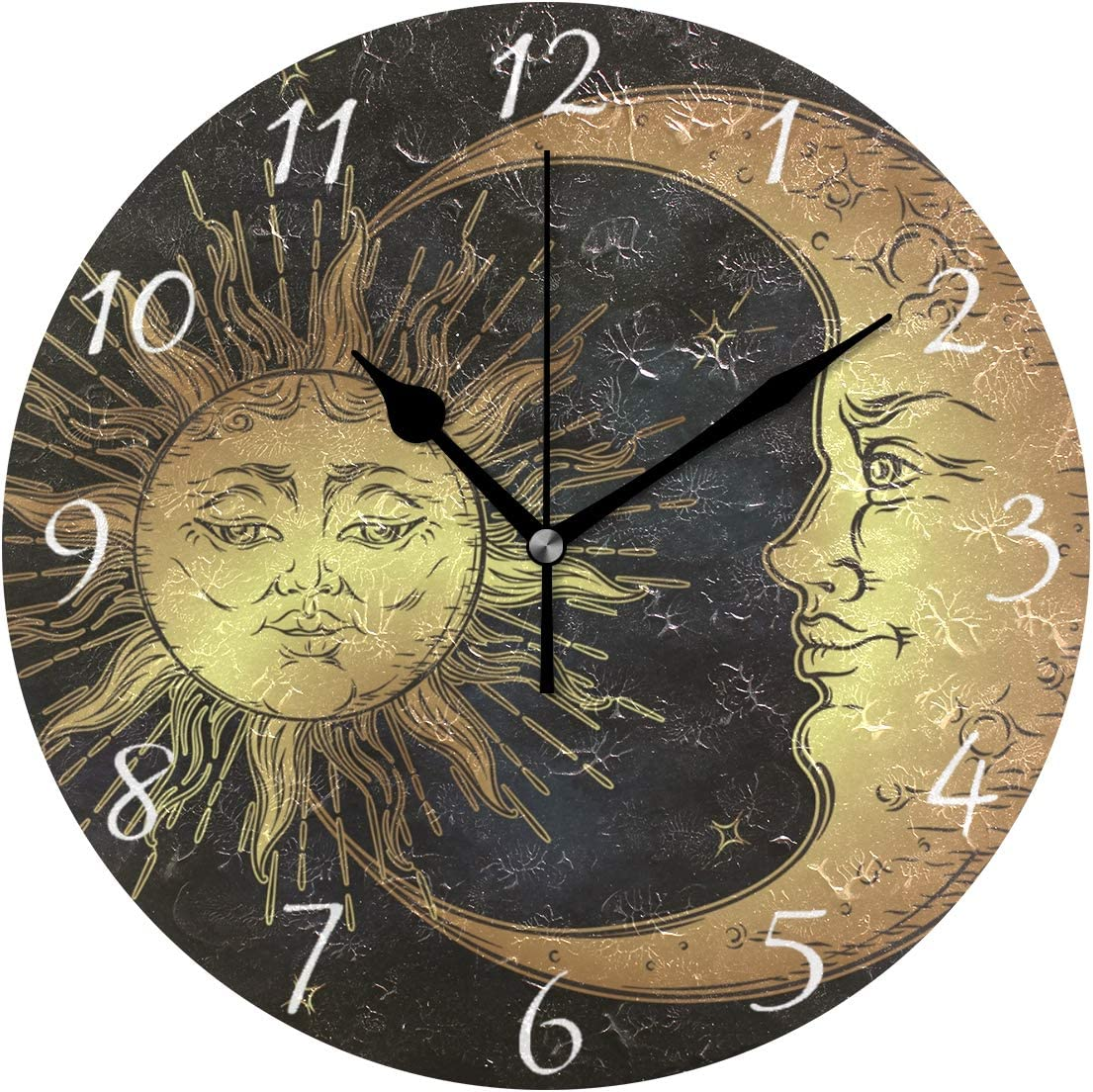 AHOMY Round Wall Clock Boho Sun and Moon Stars Home Art Decor Non-Ticking Numeral Clock for Home Office