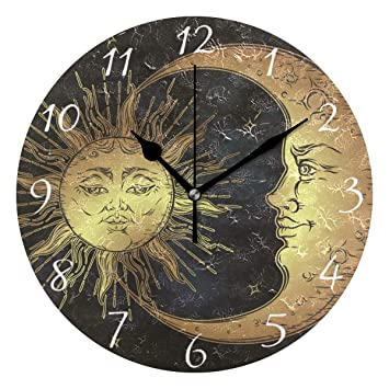 Amazon.com: AHOMY Reloj de pared redondo Boho Sol Luna ...