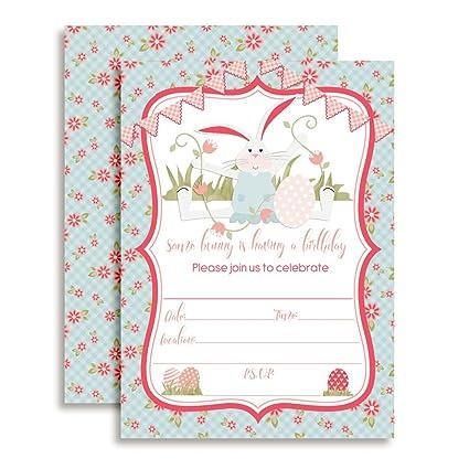 amazon com bunny birthday party invitations for girls ten 5 x7