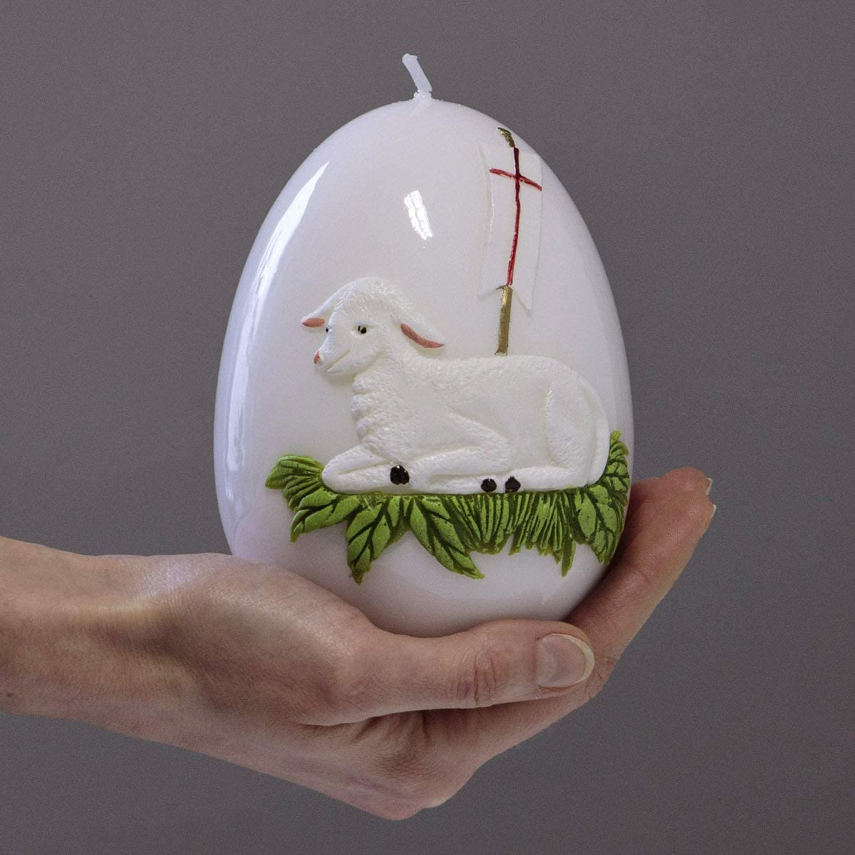 holzalbum Osterkerze Osterei Osterlamm /Ø 10 x 14 cm Agnus Dei Ostermotiv 3D Wachsmotiv Ei