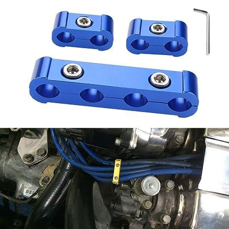 JUDING 3 piezas Motor para bujías separador separador Kit de abrazadera para cable de 8 mm