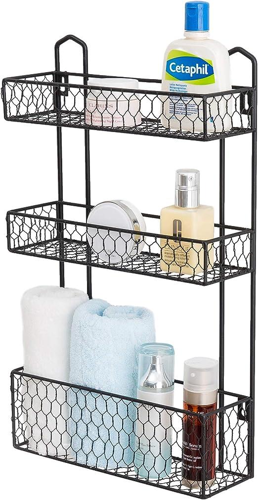 Amazon Com Mygift 3 Tier Rustic Chicken Wire Wall Hanging Bathroom Organizer Shelf Storage Rack Home Kitchen