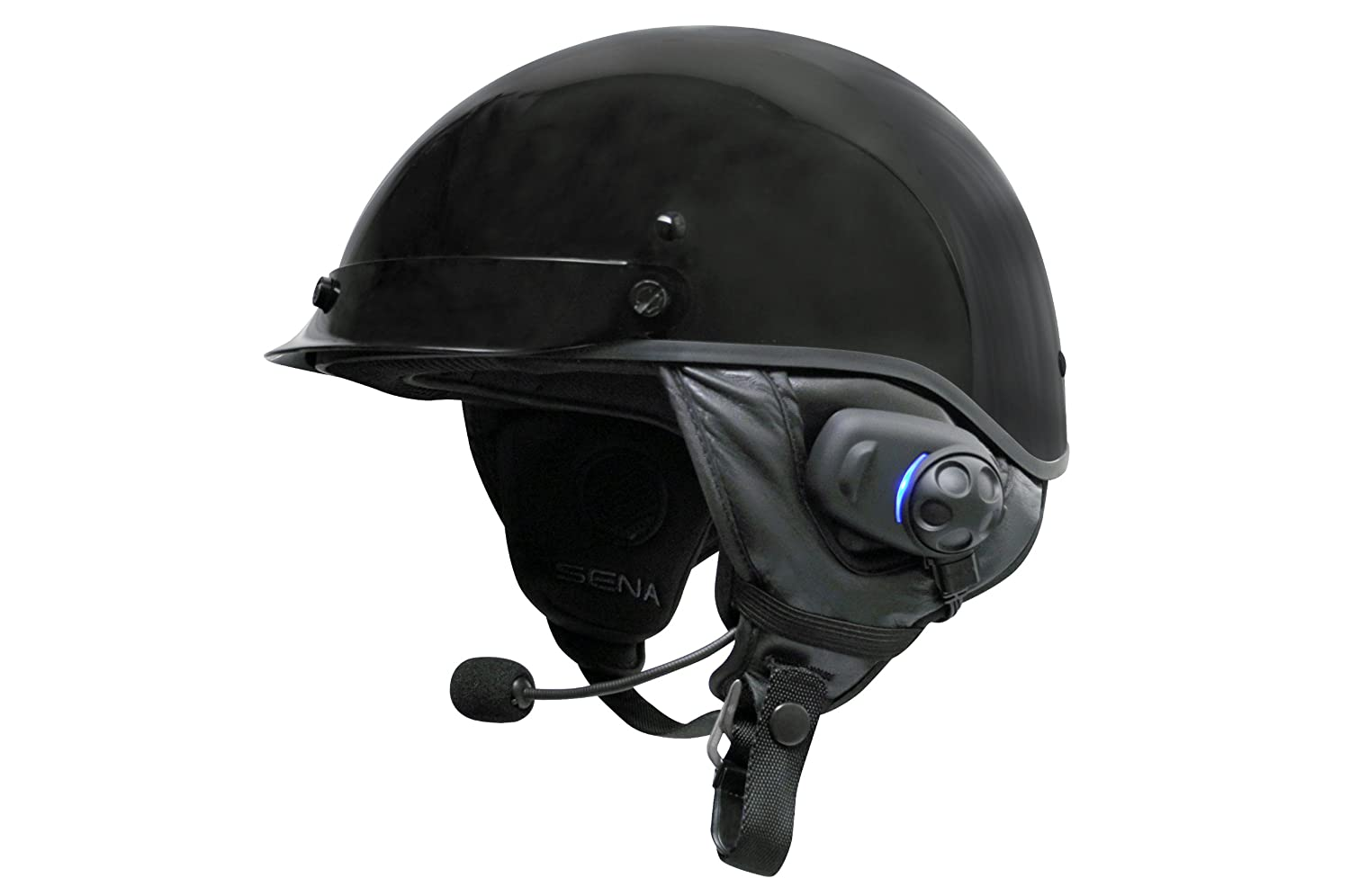 Sena Bluetooth Stereo Headset and Intercom with Built-in FM Tuner for Half Helmets SPH10H-FM-01