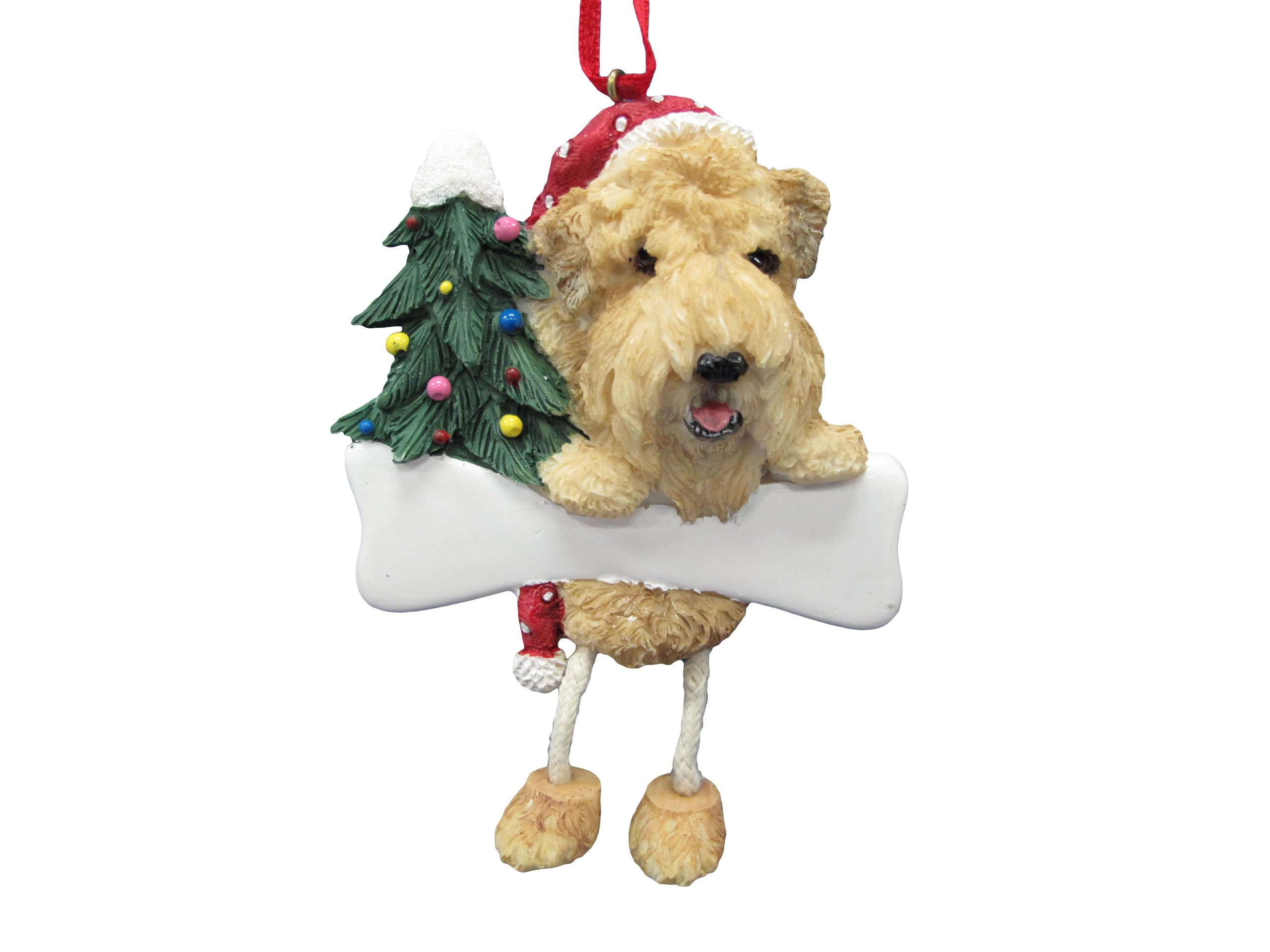 Soft Coated Wheaten Ornament with Unique ''Dangling Legs'' Hand Painted and Easily Personalized Christmas Ornament