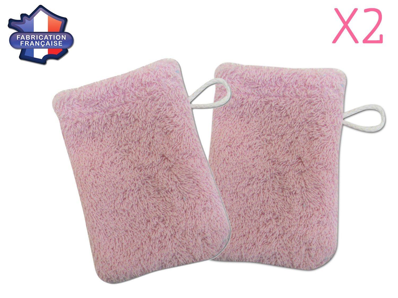 Modulit - Lot de 2 petits gants de toilette d apprentissage pour bébé/enfant (Rose) Fabrication Française