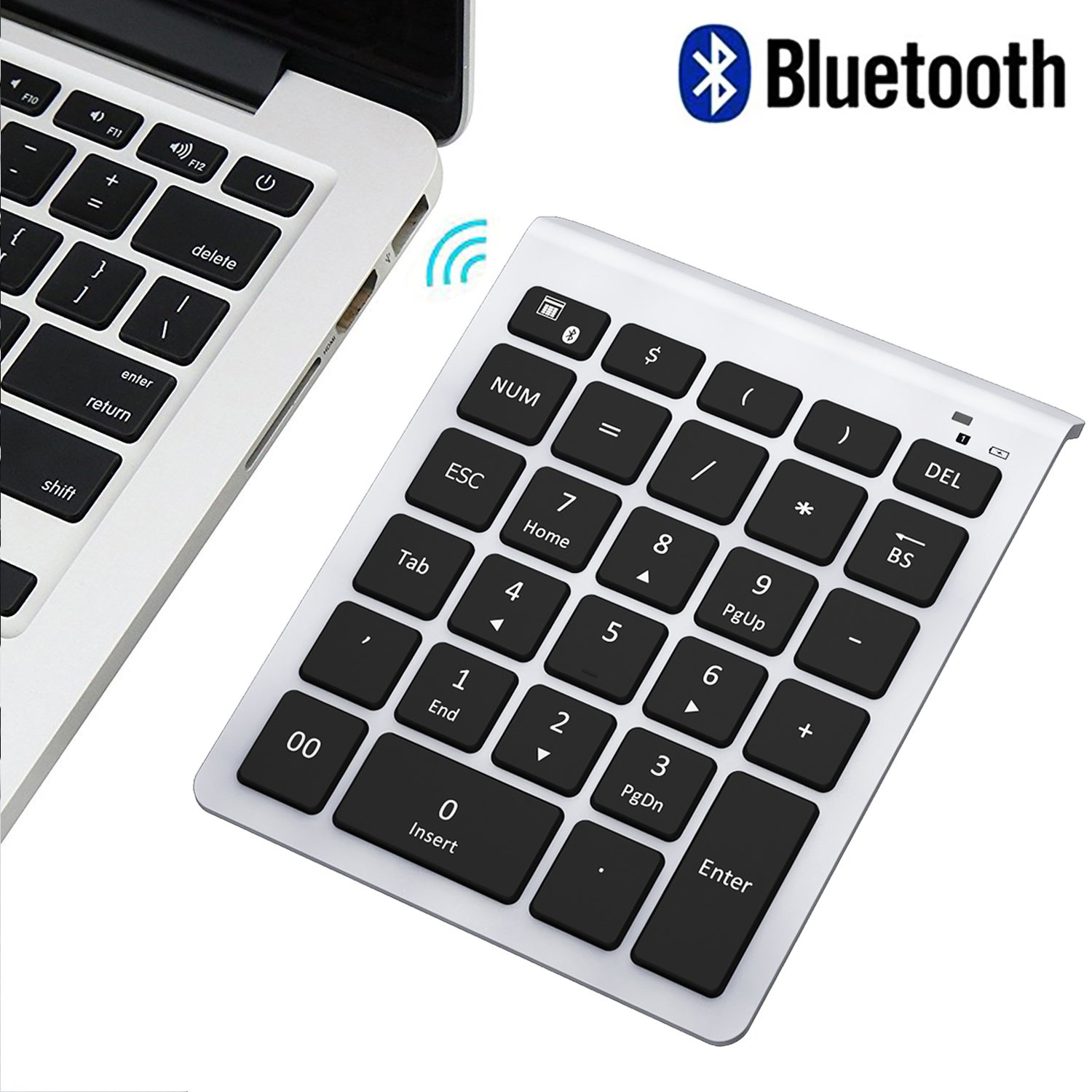 Bluetooth Number Pad, Numeric Keypad - 7Lucky Portable Wireless Bluetooth Keypad : 28-Key Numpad Keyboard Extensions for Financial Accounting Data Entry for Laptop Surface Pro Tablets Windows - Silver