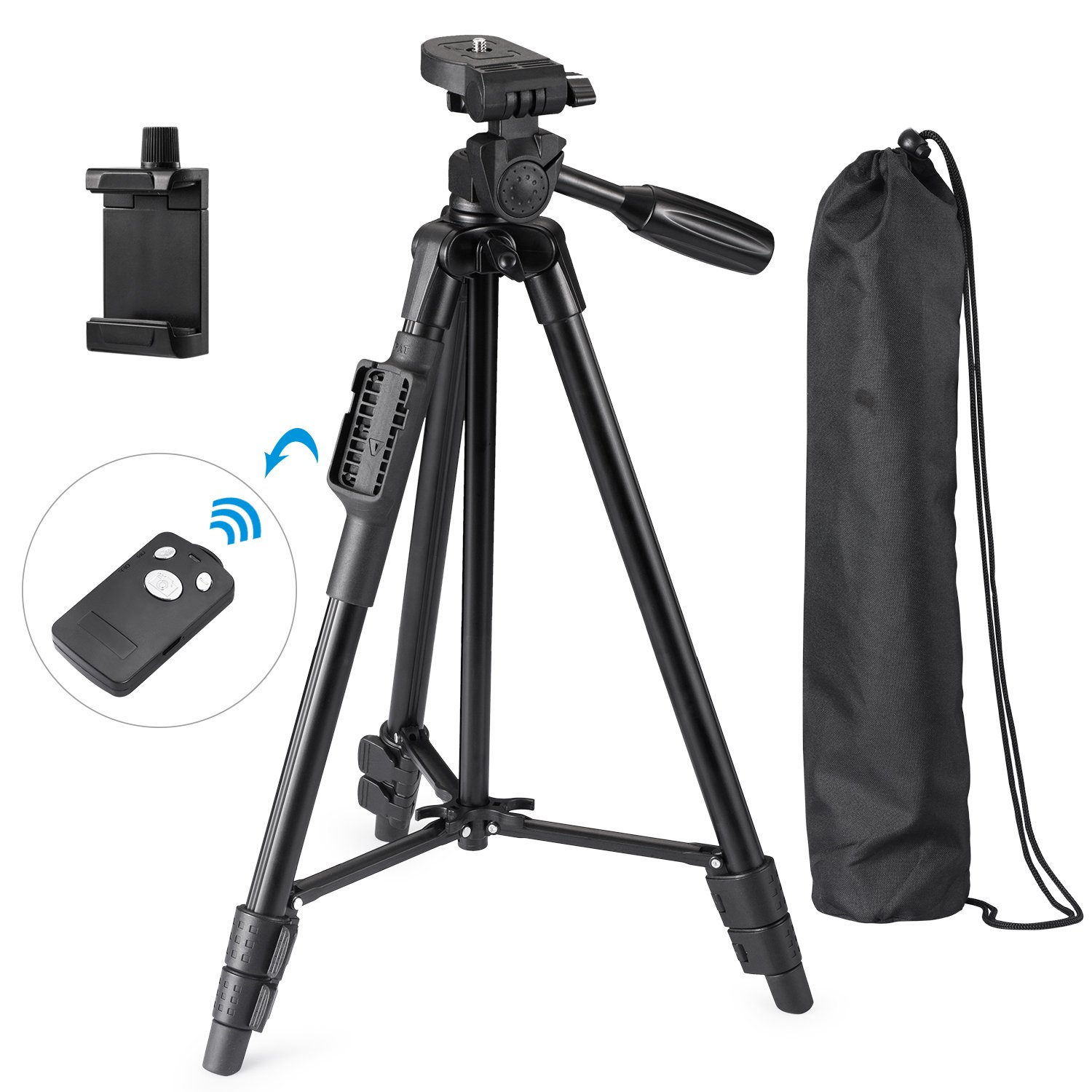 Eocean Tripod, 50 Inch Aluminum Tripod, Video Tripod for Cellphone, Camera, Universal Tripod with Wireless Remote, Compatible with iPhone Xs/Xr/X/8/8 Plus/Samsung Galaxy/Google/GoPro Hero