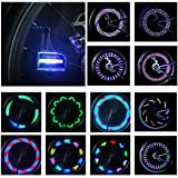 LED Bike Wheel Light Waterproof - DAWAY A02/A07 Bicycle Tire Light Spoke Lights, Safety Cool Bike Accessories, Auto Open Close, Super Bright, Different Patterns, Gifts for Kids Adults, Include Battery