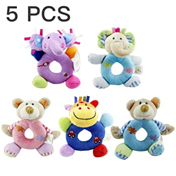 38574b2b0c93 Baby's First Wrist Rattle Learning Stuffed Animal Hand Bell Plush Doll Toys  for Kids Xmas Gift (Purple elephant)