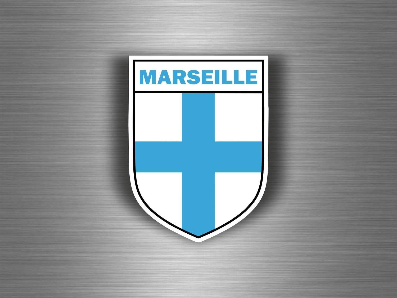 Akachafactory Aufkleber Sticker Auto Motorrad Wappen Stadt Marseille Armoirie Flagge 13 Auto