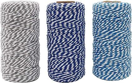 328 Fu/ß x 3 Rollen Makramee-Schnur f/ür Geschenkverpackungen DIY Kunst Basteln Weihnachten Dekoration Tenn Well 2 mm Baumwollschnur