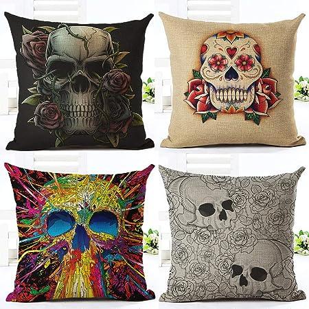 Fansu Fundas de Cojines para Sofa Halloween, Impresión del Cráneo 4 Pack Lino Funda de Almohada Throw Pillow Case Cremallera Oculta Sofá Cama de la Casa Decoración (45x45cm/18x18in,Estilo H): Amazon.es: Hogar