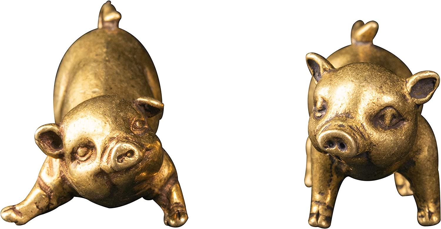 Chinese Mini old handwork brass little pigs figurines rare little Sculpture Statue figurine lover Pig animals true to life Cute Lucky Design Theme Home or Office Decoration Attract Wealth Ornament Mascot gift for lover friends children Collectible
