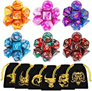 DND Dice, 42 Pieces Polyhedral Dice Color Polyhedral Dice Complete with for Dungeon and Dragons MTG RPG DND D20 D12 D10 D8 D