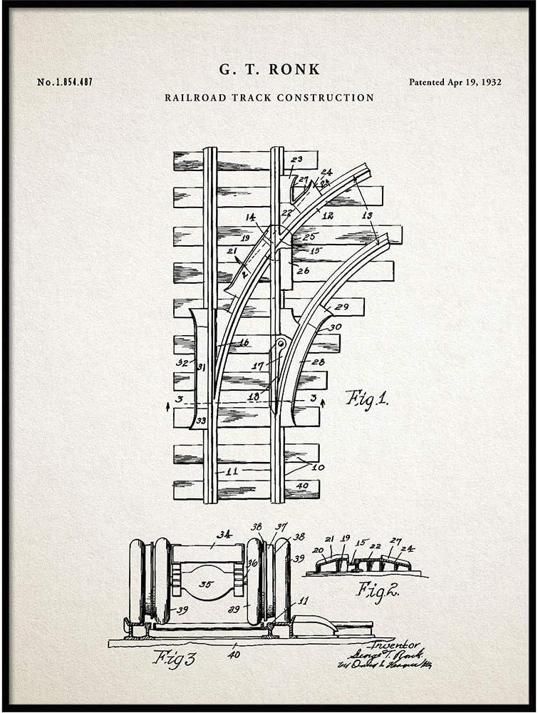 Railroad Tracks Patent Print, Train Tracks Poster, Locomotive Decor, Railway Station Decor, Railroad Decor, Train Collector Gift, QP446