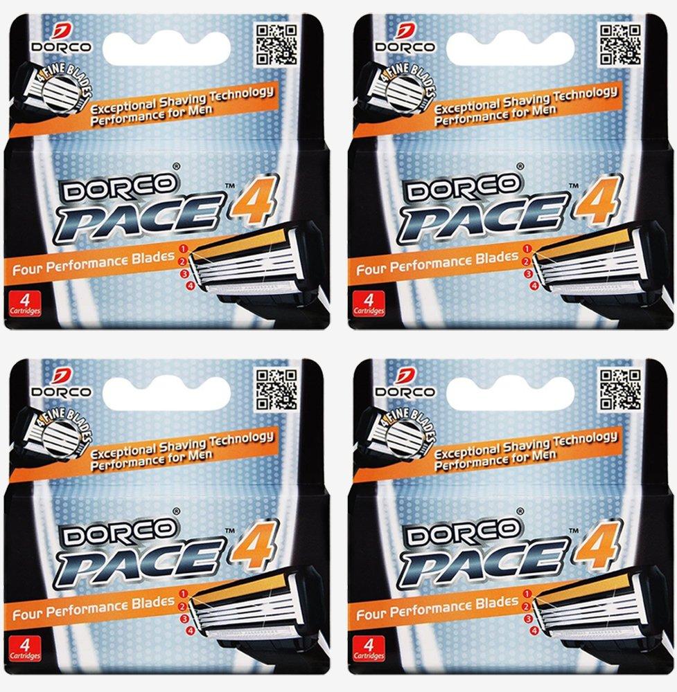Dorco Pace 4- Four Blade Razor Shaving System- Value Pack - 16 Cartridges (No Handle)
