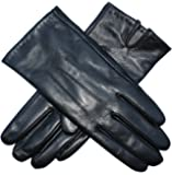 Jasmine Silk Ladies Luxury Genuine Lambskin Leather Cashmere Lined Gloves BLACK