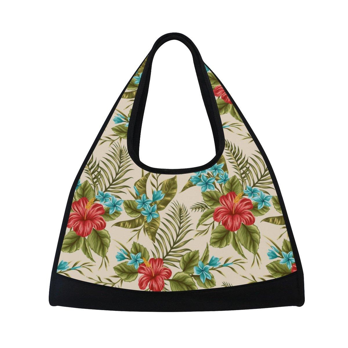 AHOMY Canvas Sports Gym Bag Flowers Tropical Plants Leaf Travel Shoulder Bag